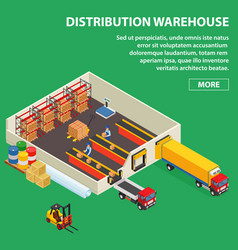 large distribution warehouse with workers loading vector image vector image