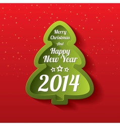 Merry Christmas green tree greeting card 2014 vector image vector image