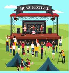 outdoor music festival composition vector image vector image