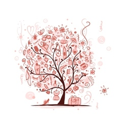 Art tree with female accessories for your design vector image vector image
