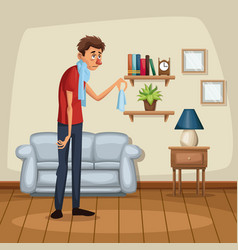 background living room home with sickness people vector image