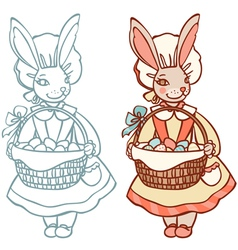 bunny with a basket of Easter eggs vector image