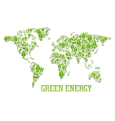 Green world map symbol with light bulbs vector image