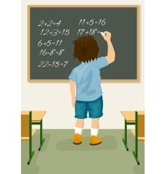 schoolboy solves arithmetical on blackboard vector image vector image