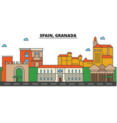 spain granada city skyline architecture vector image