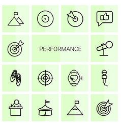 14 performance icons vector