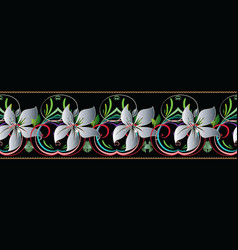 3d flowers seamless border floral vintage pattern vector image