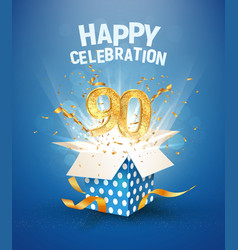90 th years anniversary and open gift box vector