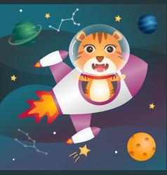 A cute tiger in space galaxy vector