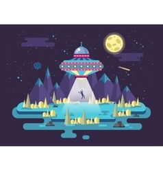 A flying saucer UFO stealing man vector