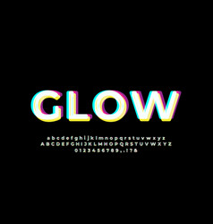 Abstract glow light white cyan font effect vector