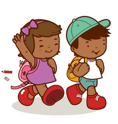 African american children walk to school vector