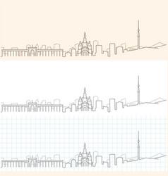 Almaty hand drawn skyline vector