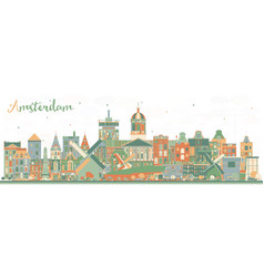 Amsterdam holland city skyline with color vector