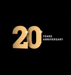 Anniversary 20 gold 3d numbers poster template vector