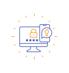Authentication in two steps line icon vector