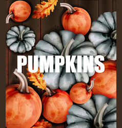 autumn card with pumpkins watercolor style vector image