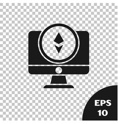 Black monitor and cryptocurrency coin ethereum eth vector