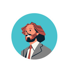 Brown hair businessman avatar man face profile vector