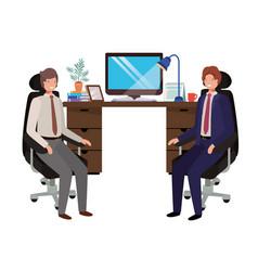 Businessmen in work office avatar character vector