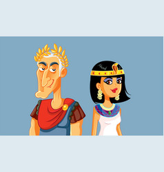 Caesar and cleopatra cartoon vector