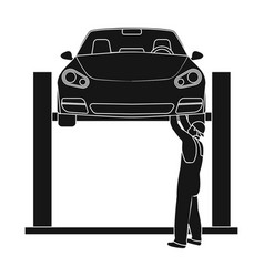 Car on the lift single icon in black style for vector