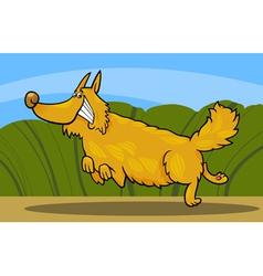 Cartoon happy shaggy playful dog vector