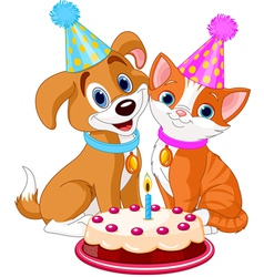 Cat and Dog celebrating vector image