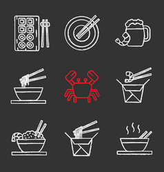 Chinese food chalk icons set vector