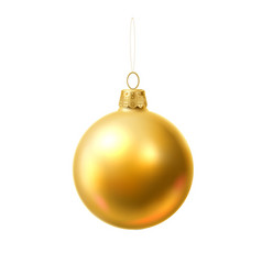Christmas tree ball golden realistic toy vector