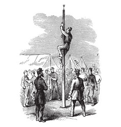 Climbing pole vintage vector
