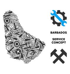 Collage barbados map of service tools vector