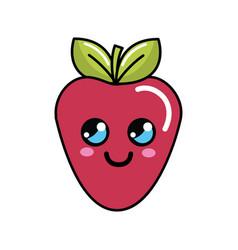 Color kawaii happy strawberry icon vector