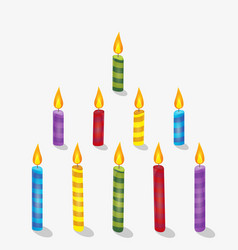 colored striped burning candles vector image