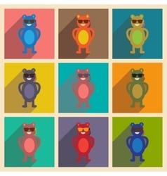 Concept flat icons with long shadow bear cartoon vector
