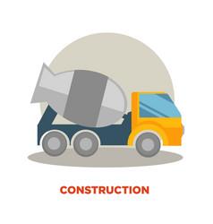 Concrete mixer machine building or construction vector