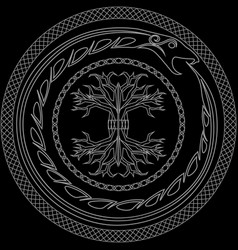 Contour yggdrasil and ouroboros in ornamented vector