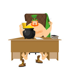 Cool leprechaun relaxing mug beer and pipes tough vector