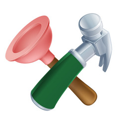 crossed plunger and hammer tools vector image