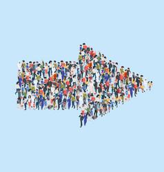 crowd arrow success people walking in direction vector image