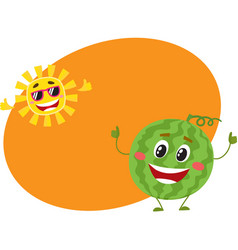 cute funny watermelon and sun characters hot vector image