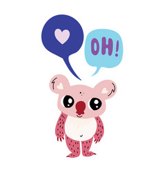 cute little koala with two speech bubble vector image