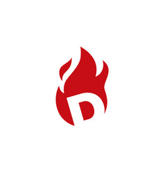 D letter fire flame logo icon vector