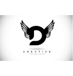 D letter logo with wings creative wing letter d vector