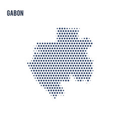 dotted map of gabon isolated on white background vector image