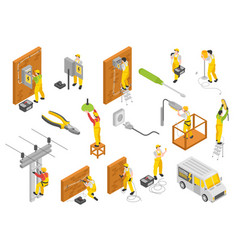 Electrician isometric color set vector