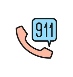 Emergency call to rescue service flat color line vector
