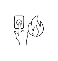 fire alarm hand drawn sketch icon vector image