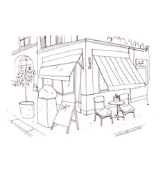 Freehand drawing of european sidewalk cafe or vector