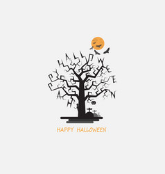 full moon amp big tree halloween abstract vector image